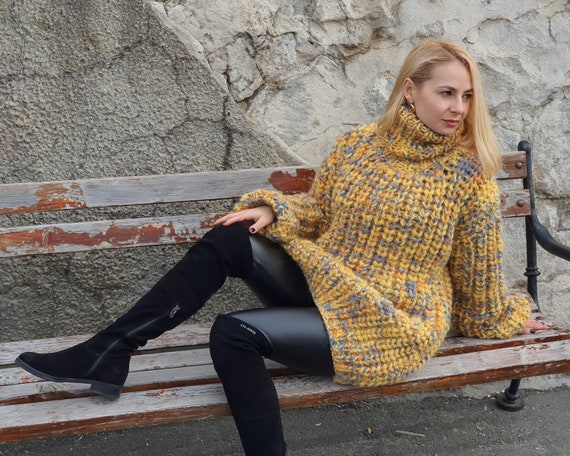 Yellow Melange Oversized Wool Sweater, English rib chunky jumper, Hand knitted sweater, Thick Hand Knitted Jumper T 954