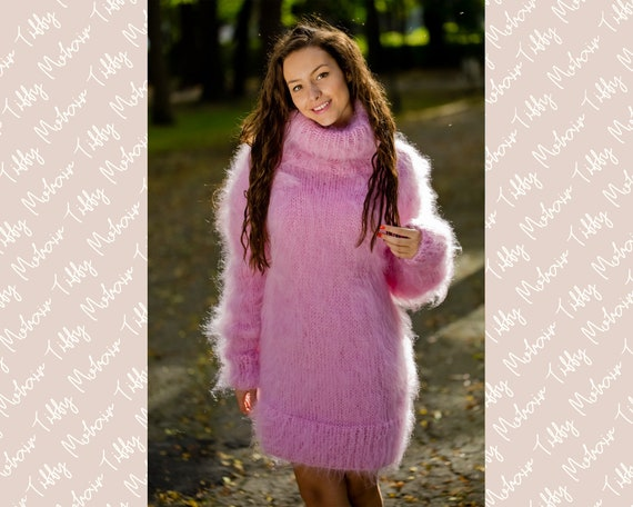 Pink Mohair Sweater, Turtleneck Sweater, Hand Knitted Sweater, T neck Jumper, Oversized Sweater, Mohair Fetish, Chunky Fluffy Sweater T171