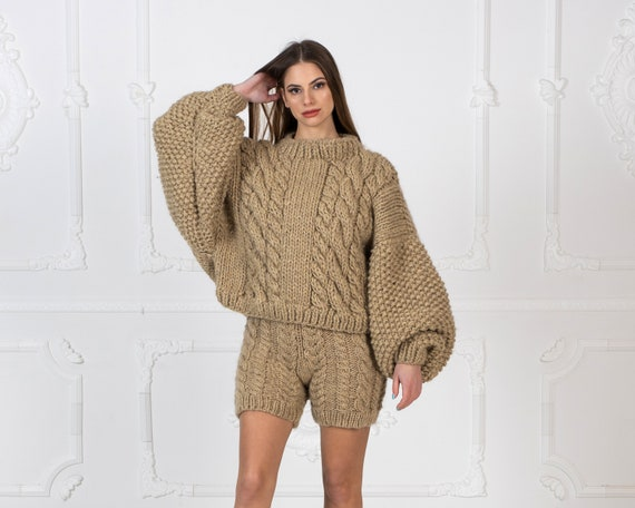 Ready to ship in size 4XL, Short Sweater with Oversized Sleeves, Eco Wool Jumper , Extra Wide Sleeves Sweater T962