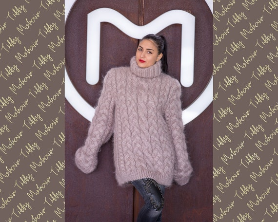 Beige Mohair Sweater, Cables Sweater, Hand Knit Sweater, Crewneck Jumper, Oversized Sweater, Mohair Fetish, Chunky Sweater, Men sweater T516