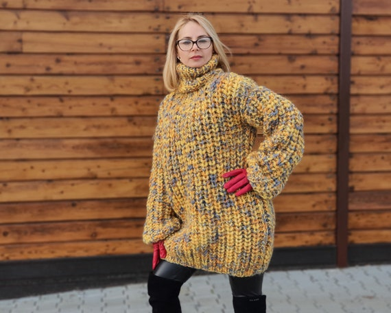 Ready to Ship in size 6XL, Yellow Melange Oversized Wool Sweater, English rib chunky jumper, Hand knitted sweater, Hand Knitted Jumper T 954