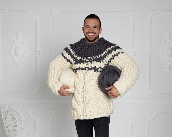 CHUNKY KNIT SWEATER, Gray & Cream bulky sweater, Man Giant knit sweater, Men Wool Sweater, super chunky sweater, Merino chunky sweater T621M