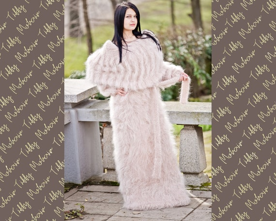 Cowl Neck Mohair Dress, Beige Maxi Dress, Knit Sweater Dress, Fluffy Mohair Dress, Oversized Mohair Dress, Fetish Dress , Maxi Dress T289