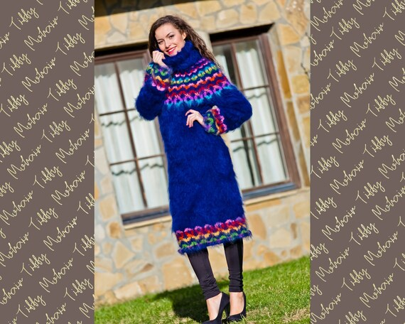 Blue Mohair Dress, Icelandic Dress, Hand Knitted Dress, Sweater Dress, T neck Mohair Dress, Fetish Robe, Fair Isle Dress, Winter Dress T221