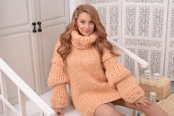 Merino Wool Turtleneck Sweater - Gorgeous Fall Winter Sweater , Soft bulky sweater, Women Wool Sweater, chunky sweater  T755