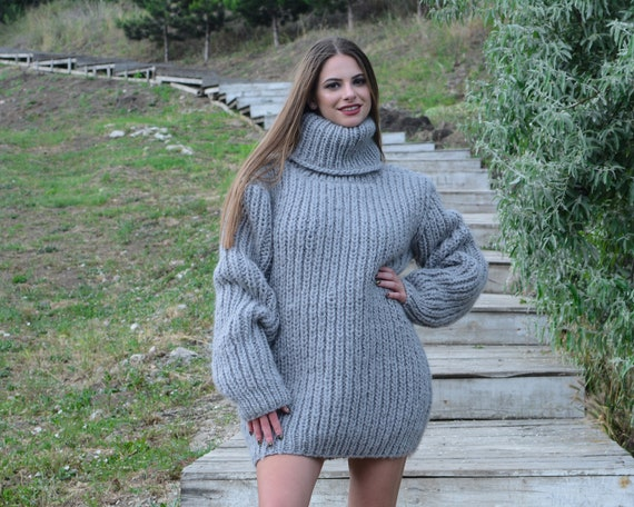 Ready to ship in size 3 xl Fisherman Gray sweater, Ribbed woolen jumper, warm wool sweater T782W