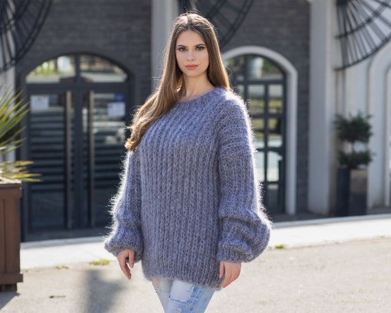 Gray Mohair Sweater, Soft Crewneck Sweater, Men Mohair Sweater, Ribbed Mohair Pull, Thick Oversized Sweater, Hand Knitted sweater T1034