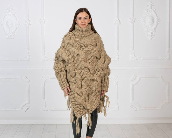 Ready to ship in size 6XL, Big Eco beige woolen poncho , Cable knit wool poncho , Oversized Wooly Poncho in Beige Color ,  body cover T965W