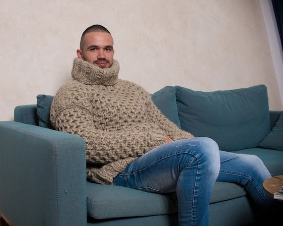 Eco wool Sweater, Honeycomb hand knitted woolen jumper T811M