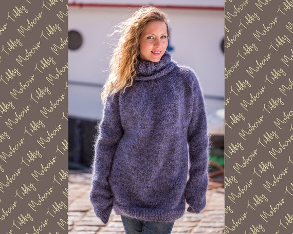T neck Gray Sweater , Chunky and Cosy Knitted Mohair Jumper T520