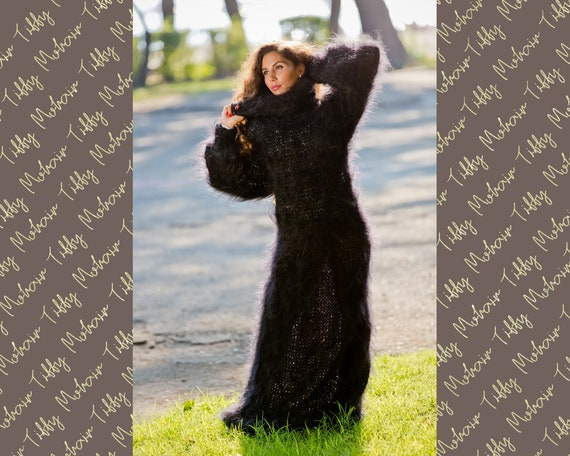 Black Mohair dress, Hand Knit Dress, Fetish Mohair Dress, Sweater Dress, Turtleneck Dress, Maxi Dress, Loose Knitted Dress, Winter Robe T102