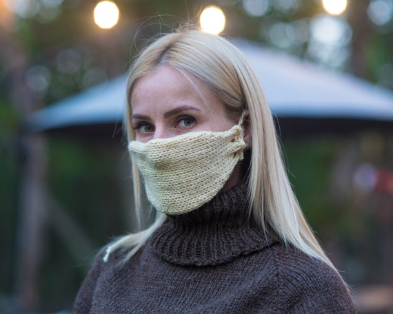 Face mask made in natural raw wool , Hand knitted mask