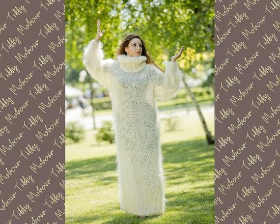 Cream Mohair dress, Hand Knit Dress, Fetish Mohair Dress, Sweater Dress, Turtleneck Dress, Maxi Dress, Loose Knitted Dress, Winter Robe T79