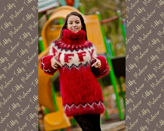 Red Mohair Sweater, Icelandic Sweater, Hand Knit Sweater, Men Mohair Sweater, personalized sweater, Fluffy Huge Sweater, Nordic Sweater T199