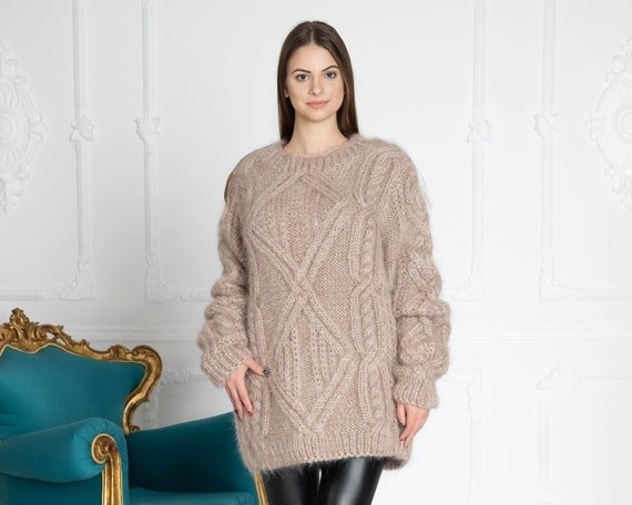 Cable Knit Mohair Sweater, Cables Sweater, Hand Knit Sweater, Crewneck Jumper, Oversized Sweater, Chunky Sweater, Women sweater T644W