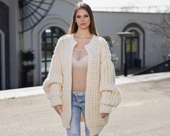 Cream Wool Cardigan, Hand knitted Cradigan, Oversized Cardigan, Knit Jacket, Wool Coat, English rib Cardigan Coat, Chunky Cardigan T1022M