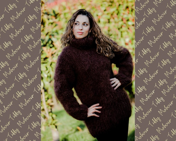 Brown Mohair Fuzzy Pullover, Turtleneck Sweater, Hand Knitted Sweater, Fluffy Sweater, Huge Oversized Sweater, Winter Sweater T5