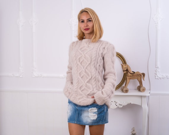 Beige Italian Rabbit Angora sweater, Fluffy Cable knit sweater , birthday present for her, Exclusive knitwear T854