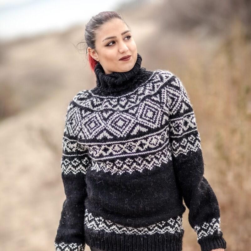 a2d94ee2f13 Lopi Wool Sweater, Icelandic Sweater, Hand Knit Sweater, Men Wool ...