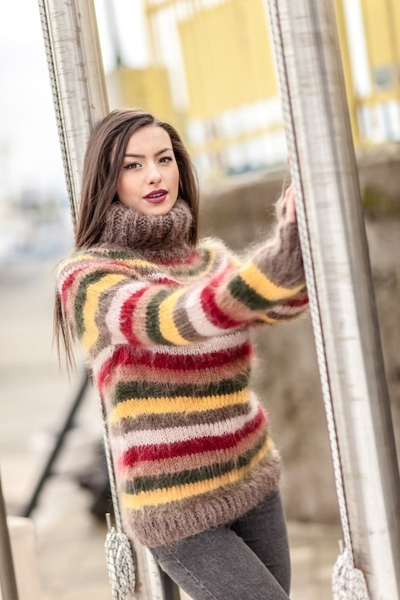 Striped Sweater, Turtleneck Sweater, Knitted Sweater, Fluffy Pullover, Oversized Sweater, Plus Size Mohair Sweater, Chunky Knit Sweater T415