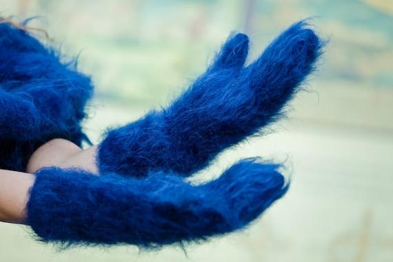Blue Mohair Mittens, Hand Knit Gloves, Mohair Fetish Mittens, Knitted Mittens, Fluffy  Mittens, Handmade Mittens, Wool Winter Mittens T191a