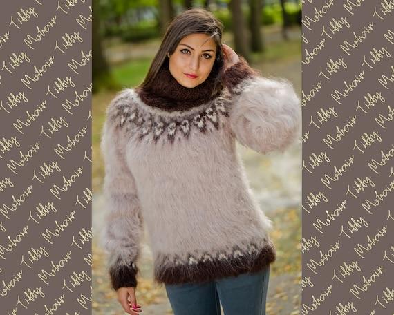 Beige Mohair Sweater, Icelandic Sweater, Hand Knit Sweater, Men Mohair Sweater, Norwegian Sweater, Fluffy Huge Sweater, Nordic Sweater T162
