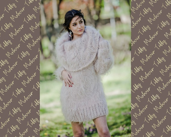 Beige Mohair Dress, Cowl Neck Sweater, Hand Knit Dress, Fluffy Pullover, Maxi Mohair dress, Winter Dress, Oversized Dress, Fetish Dress T31