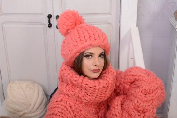 Merino Hat, Pom Pom Hat, Pink Hat, Kids Hat, Wool Beanie, Chunky Yarn, Gift for Her, Merino Wool, Thick Winter Beanie T727