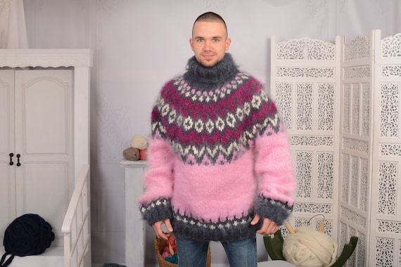 Pink Mohair Sweater, Icelandic Sweater, Icelandic Mohair  Sweater, Norwegian Sweater, Fluffy Huge Sweater, Nordic Sweater T731M