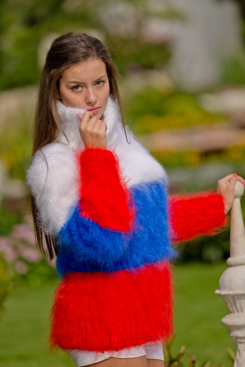 0946932f72f2c1 Russian Flag Sweater Mohair Sweater Fluffy Pullover Hand | Etsy