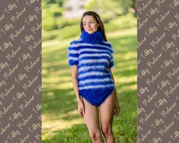 Mohair Bodysuit, Hand Knit Sweater, Fetish Bodysuit, Men Mohair Romper, Winter Turtleneck Sweater, Fetish Bodysuit, Fluffy Bodysuit T337