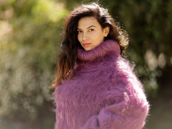 Fluffy Mohair Dress, Hand Knit Sweater Dress, Turtleneck Maxi Dress, Chunky Mohair Dress, Long Fetish Dress, Winter Dress  T1057