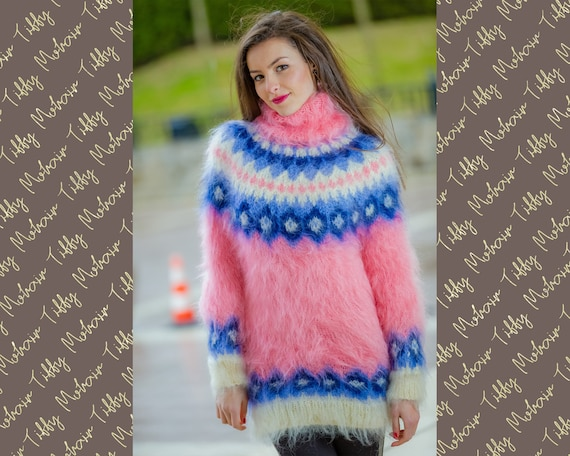 Nordic Sweater, Mohair Sweater, Jaquard Sweater Dress, Turtleneck Icelandic Jumper,Norwegian Mohair sweater  T319