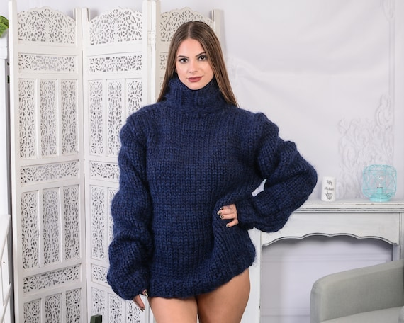 6 strands Mohair and wool mix sweater, Chunky Navy Blue Jumper , Plain hand knitted Sweater T789W