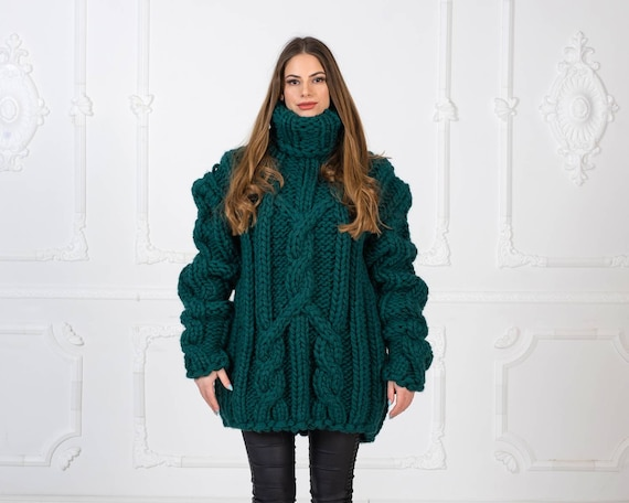 Ready to ship in size 4XL, Mega Thick Hand Knitted pure Wool Sweater Green Soft Turtleneck Jumper Pullover Jersey with Cables T968W