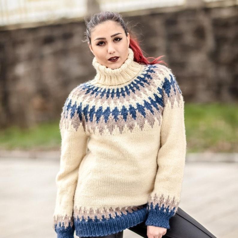98c9cd4f9b4 Lopi Wool Sweater, Icelandic Sweater, Hand Knitted Sweater, Men Wool  Sweater, Norwegian Sweater, Oversized Sweater, Cosy Nordic Sweater T430