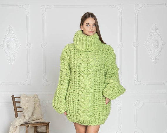 5 Strands Thick Green Wool Sweater,Huge Chunky Knit Woolen Pullover T628W