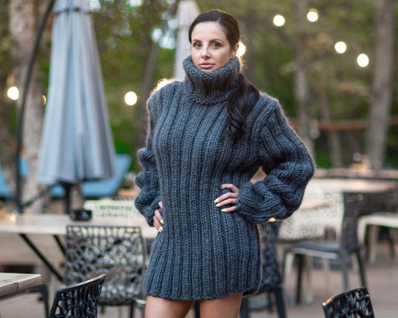 Ready to ship sweater in size 3XL, Mohair and wool mix ribbed sweater, Oversized Wool Sweater, Thick Knitted Jumper, Gray rib Sweater T814W