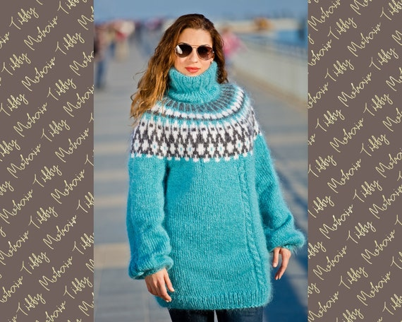 Blue Mohair Sweater, Icelandic Sweater, Hand Knit Sweater, Men Mohair Sweater, Norwegian Sweater, Fluffy Huge Sweater, Nordic Sweater T189