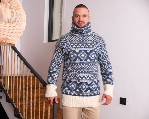 Norwegian style Sweater - Handmade with 100% Pure Soft Wool, Fair Isle sweater T821M