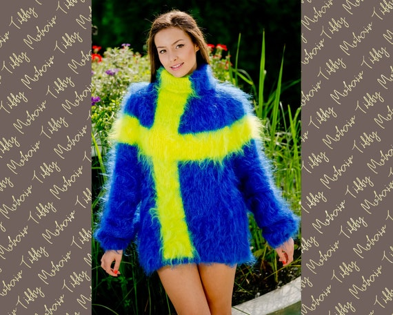 Swedish Flag sweater, Hand Knitted  Mohair sweater, Men Mohair Sweater, Fluffy Fuzzy Sweater, Blue Mohair Sweater, Soft T neck pullover T117