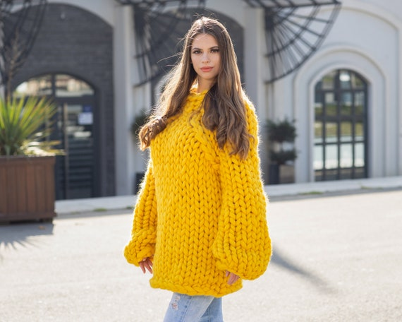 Yellow  Merino Wool Sweater , Huge Super Chunky Knit Woolen Pullover, Marshmallow sweater, Giant knit sweater, Huge Sweater T1037