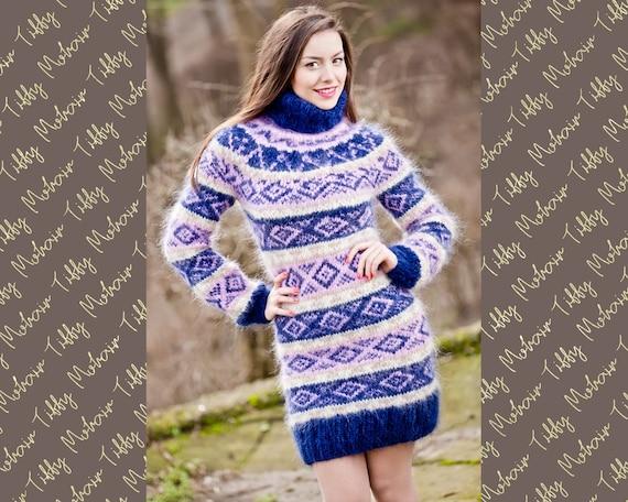 Blue Icelandic sweater, Fluffy Mohair Sweater, Hand Knit Sweater, Men Mohair Sweater, Norwegian Sweater, Soft Sweater, Nordic Sweater T305