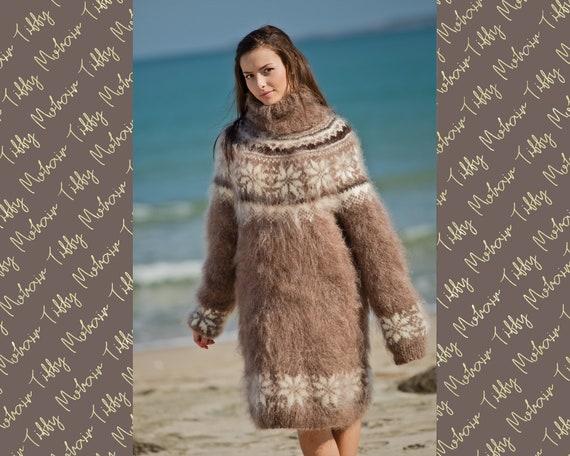 Beige Mohair Sweater, Icelandic Sweater, Hand Knit Sweater, Men Mohair Sweater, Norwegian Sweater, Fluffy Huge Sweater, Nordic Sweater  T137