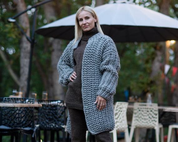 100%  Wool Cardigan, Hand knitted Cradigan, Oversized Cardigan, Knit Jacket, Wool Coat, English rib Cardigan Coat, Chunky Cardigan T888W