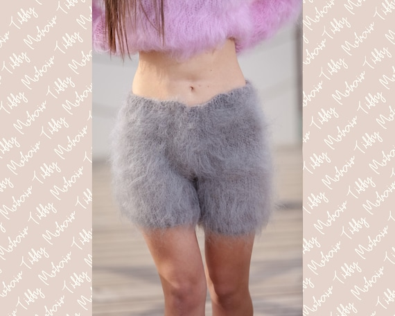 Gray Mohair Shorts , Hand Knit Boxers, Fluffy Shorts, Fetish Panties, Mohair Boxers, Fuzzy Shorts, Hand Knitted Pants, Fuzzy Underwear T447
