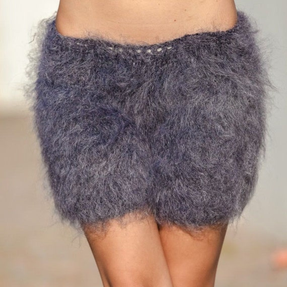 Gray Mohair Shorts , Hand Knit Boxers, Fluffy Shorts, Fetish Panties, Mohair Boxers, Fuzzy Shorts, Hand Knitted Pants, Fuzzy Underwear  T403
