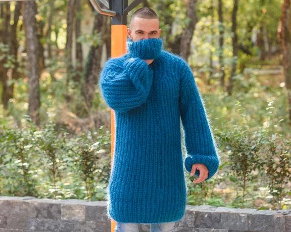 English Rib Mohair Dress, Chunky sexy Blue Sweater Dress, Slouchy Fluffy Jumper T833M