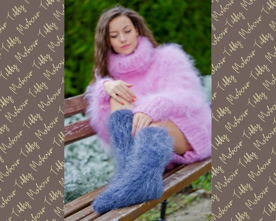 Mohair Socks, Hand Knit Legwarmers, Fuzzy Socks, Fluffy Socks, Winter Socks, Warm Socks, Fetish Socks, Wool Socks, HAnd KNitted Socks T 179
