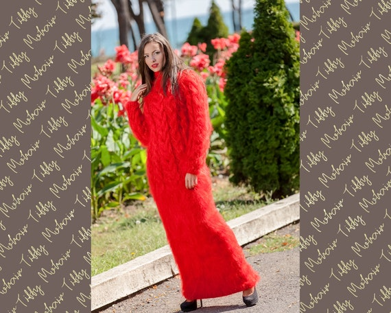 Red Mohair Dress, Knitted Dress, Turtleneck Dress, Maxi Dress, Chunky Knit Dress, Long Fetish Dress, Huge Winter Dress , Knitted Dress  T370